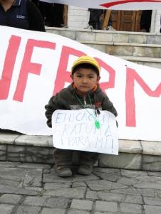 Niño chileno pidiendo educación gratis